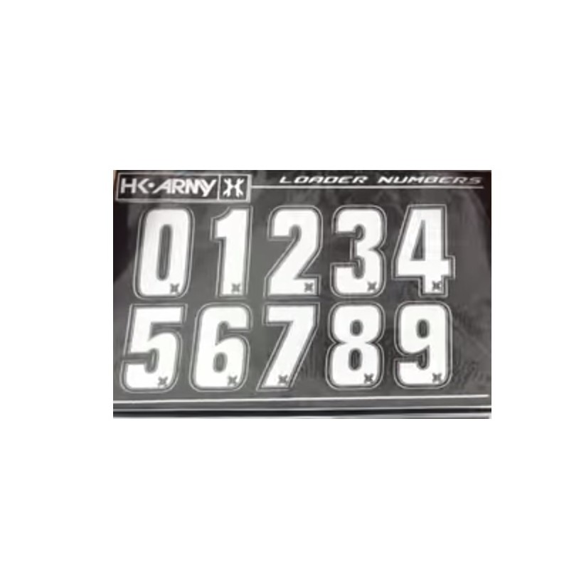 STICKERS HK ARMY LOADER NUMBERS - WHITE 1 SET ( 2 PIECES)PBG 62